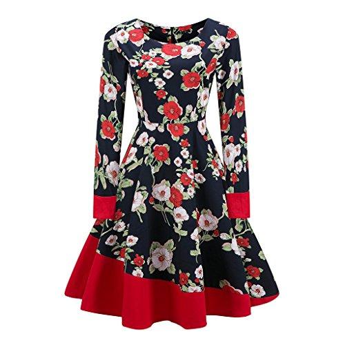 Vintage 1950 vestidos Otoño Vestido de manga larga mujer una línea Patchwork Retro Swing Rockabilly femenino vestido de fiesta vestido vestidos TQ000064