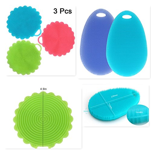 5 Pack Silicone Sponge , Dish washing Scrubber Cleaning Brush Multipurpose Cleaning Tools for Kitchen Body - Glasses Different Faces For Shaped