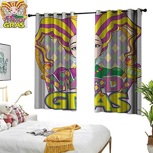 Warm Family White Curtains Mardi Gras,Carnival Girl in Harlequin Costume and Hat Cartoon Fat Tuesday Theme, Yellow Purple Green 72