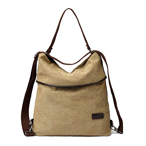 MOLLYGAN Multi-purpose Canvas Shoulder Bag Backpack School Bag Khaki by MOLLYGAN