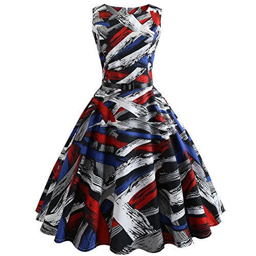 93bcaea737d Women Dresses Lady Large Size Print Vintage Bodycon Sleeveless Prom Evening  Party Swing Dress with Belt