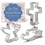 Religious Christmas Cookie Cutter Set - 3 Piece - Angel, Cross and Dove - Ann Clark Cookie Cutters - US Tin Plated Steel