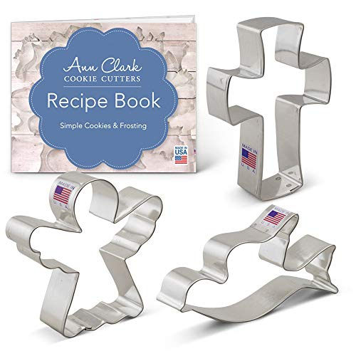 Religious Christmas Cookie Cutter Set with Recipe Book - 3 Piece - Angel, Cross and Dove - Ann Clark Cookie Cutters - USA Made Steel