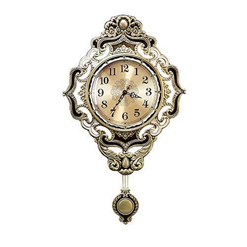 (Jian Ming Retro Living Room Pure Copper Swing Wall Clock Luxury Villa Silent Clock Home Fashion Creative Clock Wall Clock)