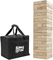 Sunny & Fun Giant Tumbling Tower | 60 Piece Set Oversized Wooden Toppling Blocks | Indoor & Outdoor St
