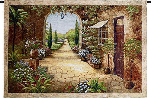 Secret Garden I | Woven Tapestry Wall Art Hanging | Old World Tuscan Villa | 100% Cotton USA Size 55x37