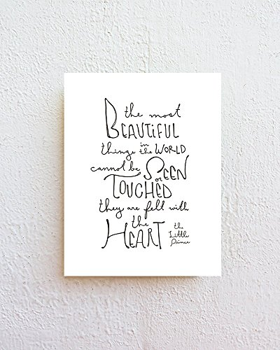 The Most Beautiful Things - The Little Prince Quote Print - Black Letter Typography on 8.5''x11'' Natural White Fine Art Paper by SimpleSerene