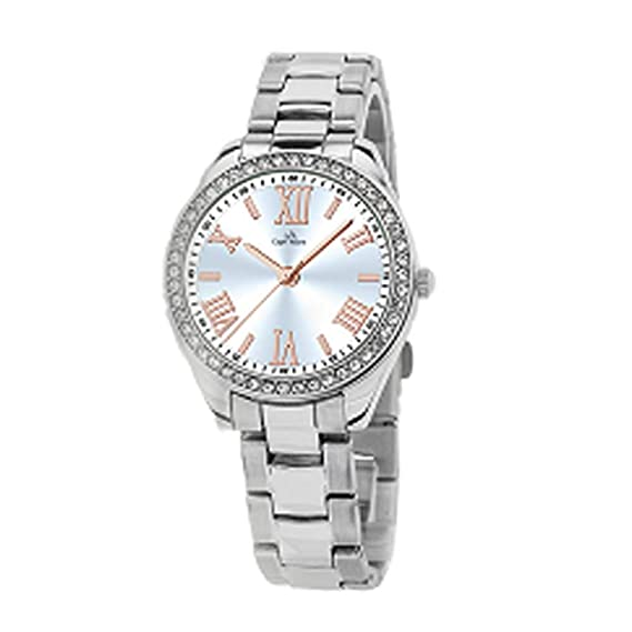 Capri playa Reloj de mujer de Roma sumergible de acero y abrazadera de diamantes Argento Con Lancette E Numeri Oro: Amazon.es: Relojes