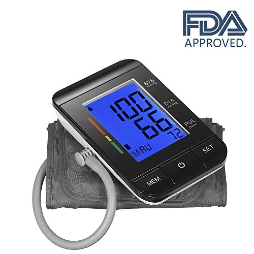 Upper Arm Blood Pressure Monitor, Clinically Accurate Readings with Irregular Heart Rate Detect, USB charging Optional, FDA Approved (Fits 8.7