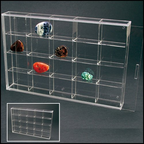 Mineral Display - Acrylic Glass Display Case for Rocks, Minerals & Figurines