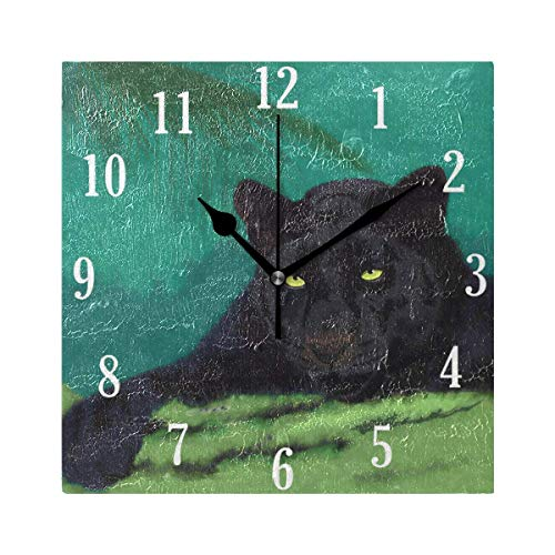 Dozili Wild Cats Panther Round Wall Clock Arabic Numerals Design Non Ticking Wall Clock Large for Bedrooms,Living Room,Bathroom ()