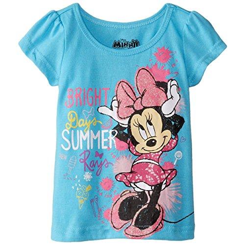 [Disney Little Girls' Short Sleeve Bright Summer Minnie T-Shirt, Blue, 3T] (Movie Character Outfits)