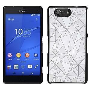 Patrón Negro Líneas Poli Arte abstracto gris- Metal de aluminio y de plástico duro Caja del teléfono - Negro - Sony Xperia Z3 Compact / Z3 Mini (Not Z3)