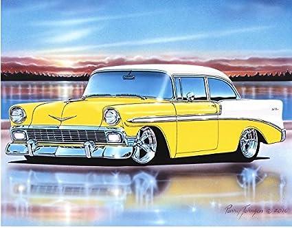 Amazon 1956 Chevy Bel Air 2 Door Sedan Hot Rod Car Art Print