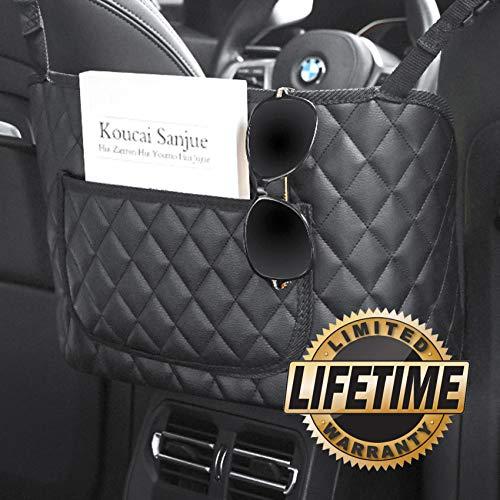 Car Net Pocket Handbag Holder,Purse Holder for Car,PU Leather Car Purse Holder Between Seats,Car Handbag Organizer,Car Seat Storage Net Pocket for Storage Phone(Leather Black with Pockets)