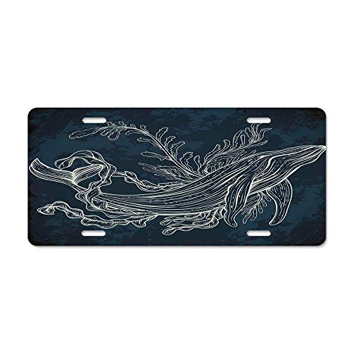 Whale,Silhouette of Whale in Doodle Style with Coral Reef and Seaweeds Print,Slate and Petrol Blue Aluminum Car Tag Sign Decorative Car Tag Sign Metal Auto Tag Front 4 Holes (12X6)