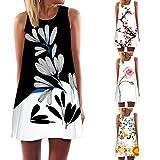 #6: BCDshop Women Vintage Boho Tank Dress Sleeveless Beach Floral Print Short Mini Dress