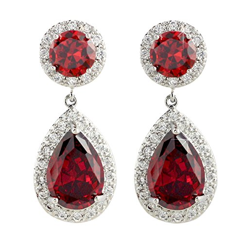 SELOVO Garnet-color Zircon Stone Red Dangle Earrings Jewelry Silver Tone