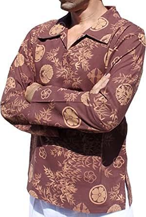 RaanPahMuang Printed Asian Bamboo Art European Collar Long Sleeve Shirt, Medium, Sepia Brown