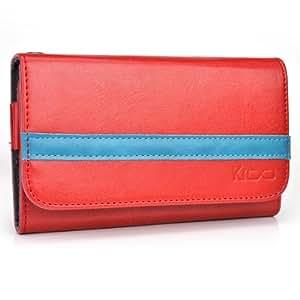 Red - Deep Sky Blue Kroo Universal Smartphone Wallet Case with Belt Loop fits Philips T3566
