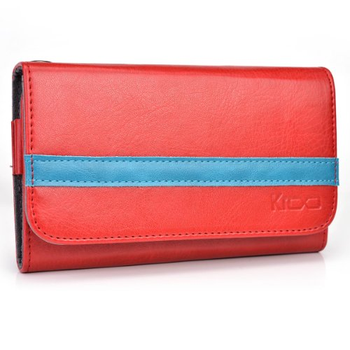Kroo® ZTE Reef Two-Tone Case   Red - Teal Wallet with Credit Card Slots