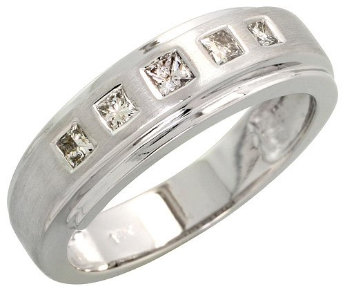 14k White Gold Matte Center Ladies' Diamond Band, w/ 0.27 Carat Invisible Set Diamonds, 1/4
