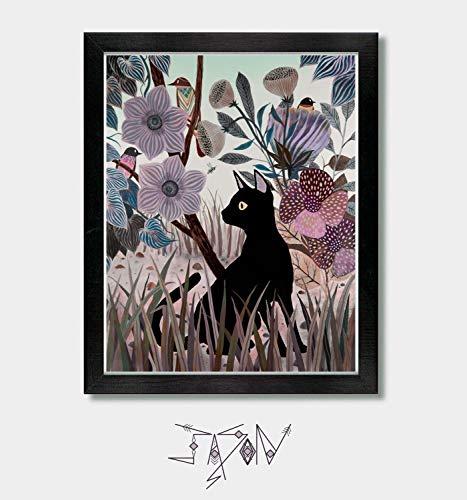 Interactions - Cat Art, Cat Print, Cats, Cat Lover, Cat Gift, Cat Lady, Bird Art, Birds, Animals, Nature, Garden, Garden Art, Wall Art, Home Decor, Oregon, Seattle, Bathroom Wall Art, Washington