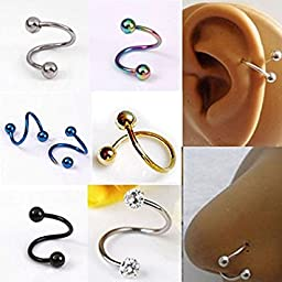 Pixnor 2 X Stylish Multifunction Unisex S Twist Nose Lip Eyebrow Ring Earring Nose Stud (Colorful)