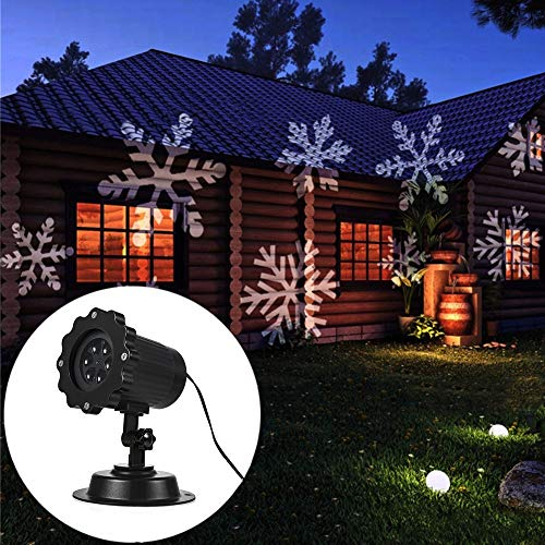 GreenClick Updated Motor Sparkling LED Projector Lights Rotating Laser Projector Light Moving Snowflake Spotlight Lamp Landscape Spotlight Stake Lamp,Suitable for Patio Party Christmas((Snowflake) by GreenClick