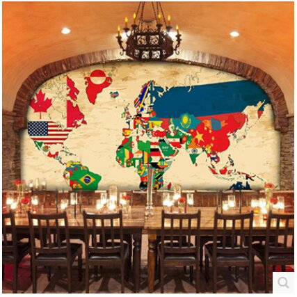Sproud Wallpaper World Map Countries Flags Large Murals Tv