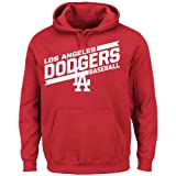 MLB Los Angeles Dodgers Men's Back The Field Fleece Hooded Sweater, Red, Large