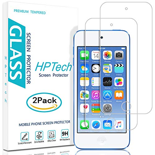 5th Gen Ipod - HPTech iPod Touch 6 Touch 5 Screen Protector - (2-Pack) Tempered Glass for Apple iPod Touch 6G (6th Gen)/5G (5th Gen) 9H Hardness [Easy to Install] Bubble Free with Lifetime Replacement Warranty