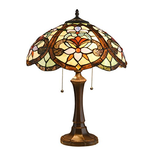 Finish Lamps Multi Color Table - DOCHEER Tiffany Style Victorian 2-Light Floral Table Lamp W16.3