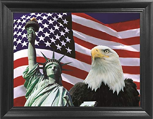 "Statue of Liberty American Flag Eagle Poster 3D Wall Art Framed – New York American Pride – 18.5x14.5"" – Lenticular Posters, Cool Print, Unique Modern Room Décor Pictures"