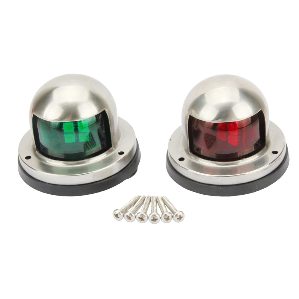 Senzeal One Pair LED Bow Navigation Lights Boat Yacht Light DC 12V Sailing Signal Lights for Boat (Red and Green)