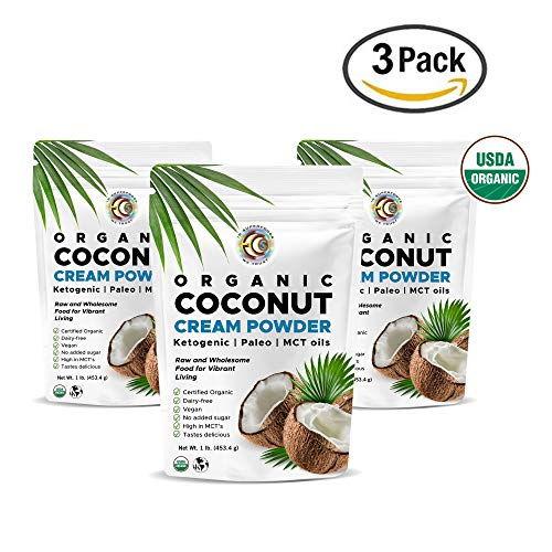 Certified Organic Coconut Cream Powder - 1lb, Keto & Paleo coffee creamer - high in MCT, Vegan, Tastes Delicious, No added sugar, gluten & dairy free (Pack of 3)