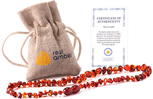 Real Baltic Amber Teething Necklace | Natural Tooth & Gum Anti-Inflammatory Jewelry for Babies and Toddlers | Helps Sooth Drooling & Teething Pain | Girls & Boys (Dark Cognac)