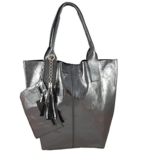 pour Anthracite métallisé in femme Italy Cabas FreyFashion Made xYnFwq7BaI