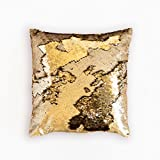Ankit Mermaid Pillow Reversible Sequin Pillow Decorative Pillows For Couch - Matte Gold Shiny Gold Throw Pillows