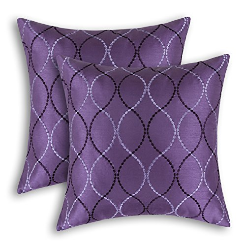 "Pack of 2 CaliTime Pillow Shells Cushion Covers Faux Silk Waves Embroidered Purple Color 18"" X 18"""