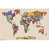 """Trends International World Map Text Wall Poster 22.375"""" x 34"""""""