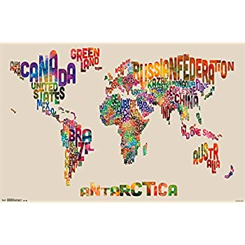 Amazon map of the world watercolor art poster print world trends international world map text wall poster 22375 x 34 gumiabroncs Choice Image