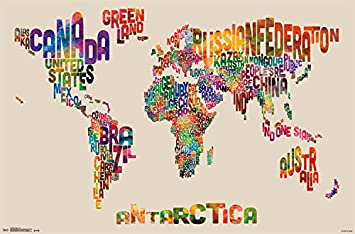 Amazon.com: Trends International World Map Text Wall Poster 22.375 ...