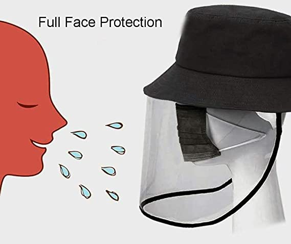 Anti Spitting Anti-UV Protective Fisherman Hat with Full Face Protection Shield Detachable Reusable Visor Face Shield Hat QXQTER Kids Face Shield Hat Anti Fog Waterproof