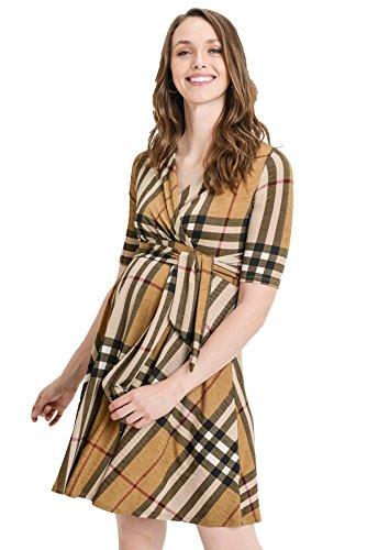Hello MIZ Flower Print V-Neck 3/4 Sleeve Baby Shower Front Tie Wrap Maternity Dress (Taupe Plaid, L)
