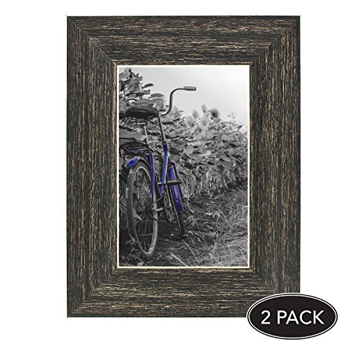 2-Pack, 4x6 inch Barnwood Rustic Picture Frame with Easel, Made for Wall and Table Top Display