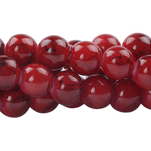 RUBYCA 10mm 2 Strands Czech Glass Round Beads Red Painted Colored String for Jewelry Making