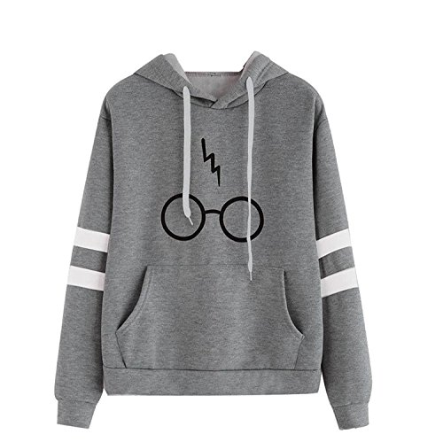 Price comparison product image Minetom Women's Autumnn Fashion Long Sleeve Pullover Harry Potter Glasses Prints Hoodies Hooded Sweatshirt Sweater Tops Gray US 2