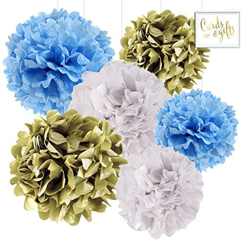 Andaz Press Hanging Tissue Paper Pom Poms Party Decor Trio Kit with Free Party Sign, Gold, Baby Blue, White, 6-Pack, For Boy Baby Shower Baptism -