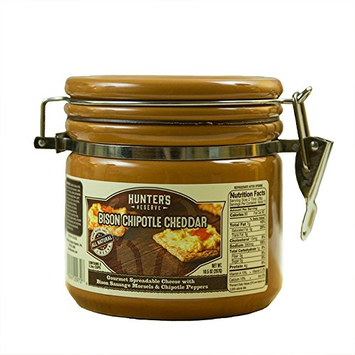 Hunters Reserve 10.5 oz. Gourmet Cheddar Cheese Spread with Bison Summer Sausage Morsels & Chipotle Peppers, 10.5 oz (Cheese Spread Pepper)